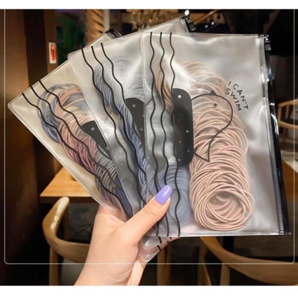 Bộ 100 dây chun buộc tóc Hàn Quốc Tặng Kèm Túi Zip- BUM BEAUTY