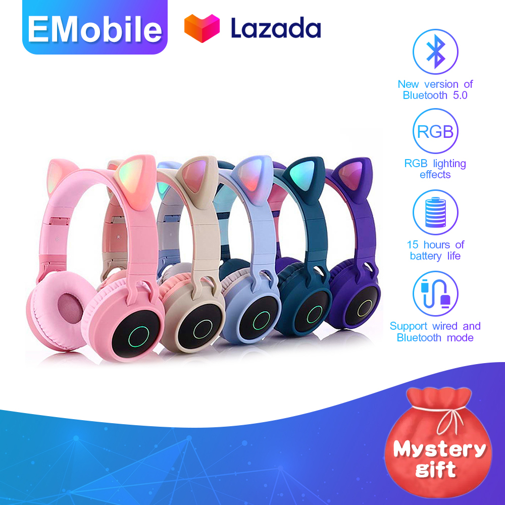 Tai nghe EMobile Tai nghe Bluetooth 5.0 Tai Mèo Dễ Thương Micro stereo không dây có thể gập lại, có đèn LED báo hiệu, hỗ trợ đài FM / thẻ nhớ TF / cổng AUX cho smartphone, PC, máy tính bảng, hỗ trợ học trực tuyến cho trẻ em
