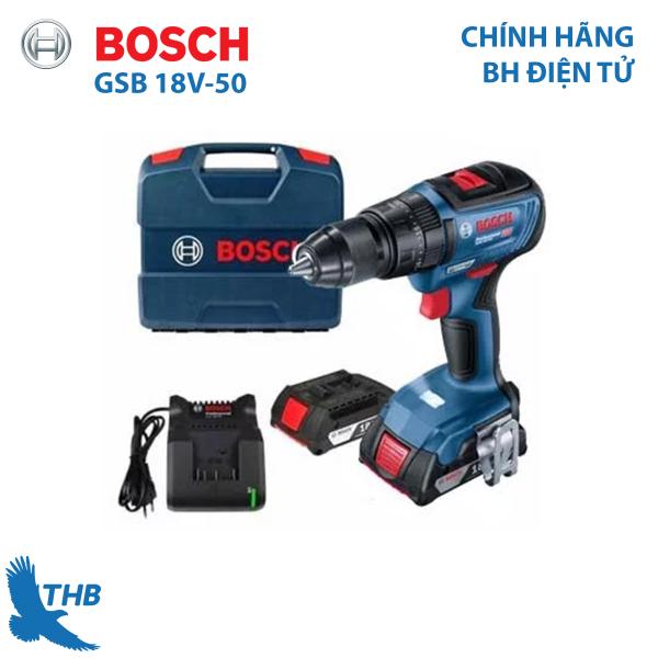[Trả góp 0%] Máy khoan bắt vít dùng pin Bosch GSB 18V-50 Mô tơ không chổi than mạnh mẽ cho độ bền và linh hoạt Xuất xứ Malaysia