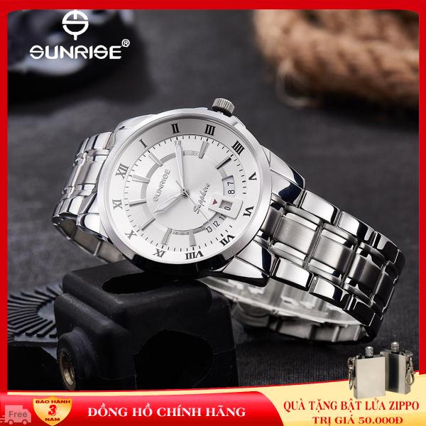 Đồng hồ chính hãng, đồng hồ nam dây kim loại Sunrise DM771SWA Full box ,kính Sapphire chống xước, chống nước, bảo hành 3 năm.
