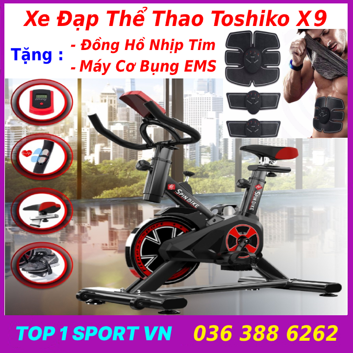 Máy đạp xe đạp tập thể dục toshiko x9 gh-709 tặng máy tập cơ bụng EMS, quà tặng quay xe đạp trong nhà im lặng trò chơi APP tập thể dục xe đạp thiết bị tập thể dục xe đạp tập thể dục