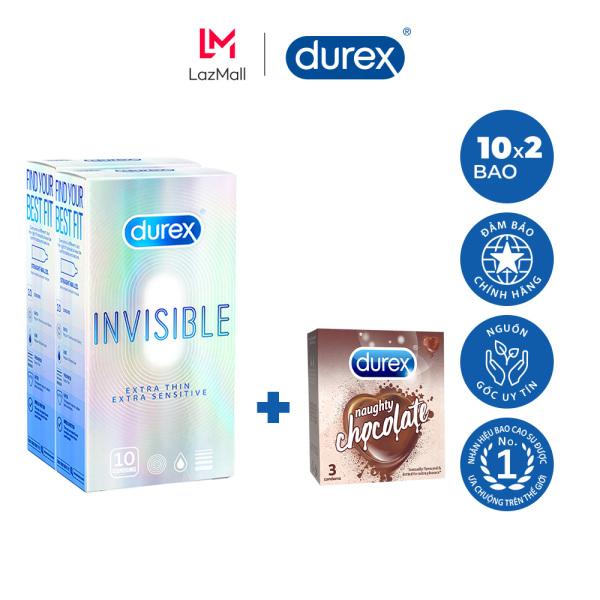 Bộ 2 Hộp Bao Cao Su Durex Invisible 10 Bao Tặng 1 Hộp Bao Cao Su Chocolate 3 Bao nhập khẩu