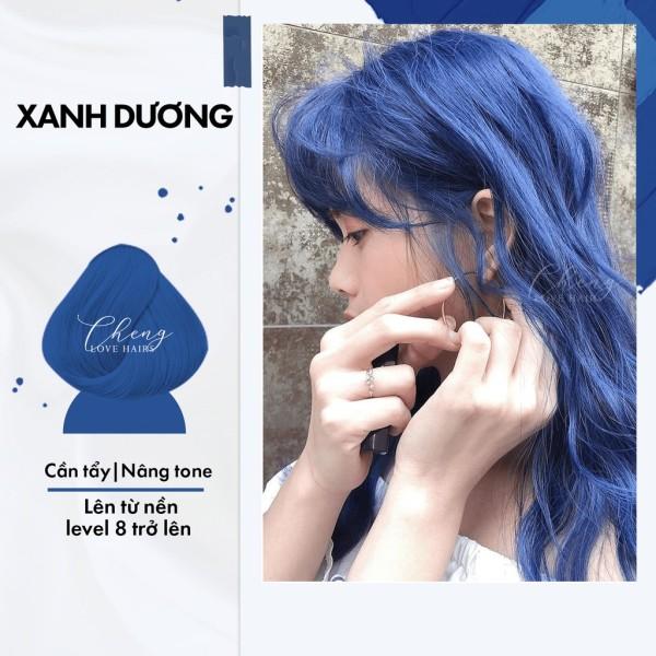 Nhuộm tóc màu XANH DƯƠNG cần dùng  tẩy tóc Chenglovehairs, Chenglovehair
