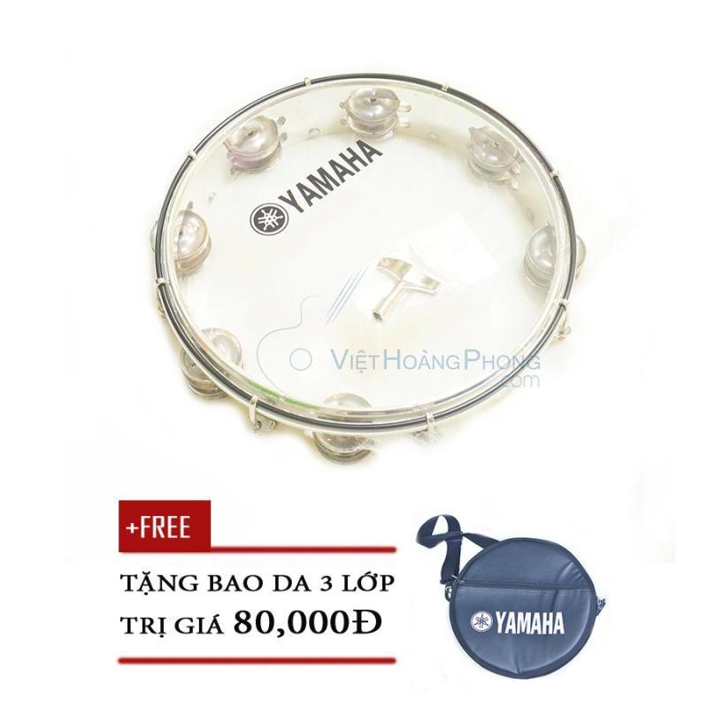Trống lắc tay - trống gõ bo - Tambourine Yamaha MT6-102T (Trắng trong) + Bao da 3 lớp - Việt Hoàng Phong