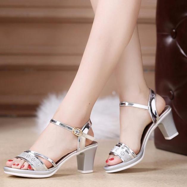 Giày Sandal nữ cao gót 7cm quai hậu - Sandal nữ cao gót thời trang giá rẻ
