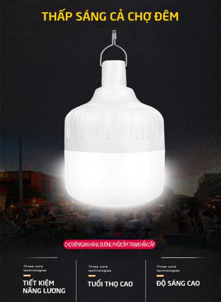 Bóng đèn LED sạc tích điện, đèn led sạc pin ánh sáng trắng, có móc treo kèm theo, bóng đèn gia dụng ánh sáng trắng, chống thấm nước, tiết kiệm năng lượng, công suất 20W HL146 catanshop