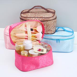 Túi hộp mỹ phẩm hình sọc (loại xịn) , túi đựng mỹ phẩm có quai xách , hộp đựng mỹ phẩm có quai cầm , ban trang diem mini màu hồng , túi đựng mỹ phẩm đi du lịch có quai xách hình hộp thumbnail