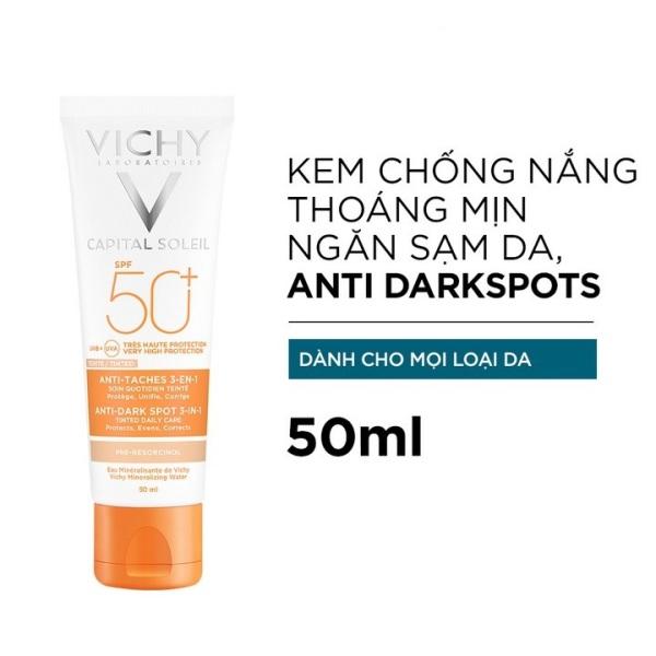 Kem Chống Nắng Vichy Ngừa Sạm Da, Giảm Thâm Nám (Màu Da) Capital Soleil Anti-Dark Spot 3-in-1 Tinted Daily Care SPF 50 UVA + UVB 50ml