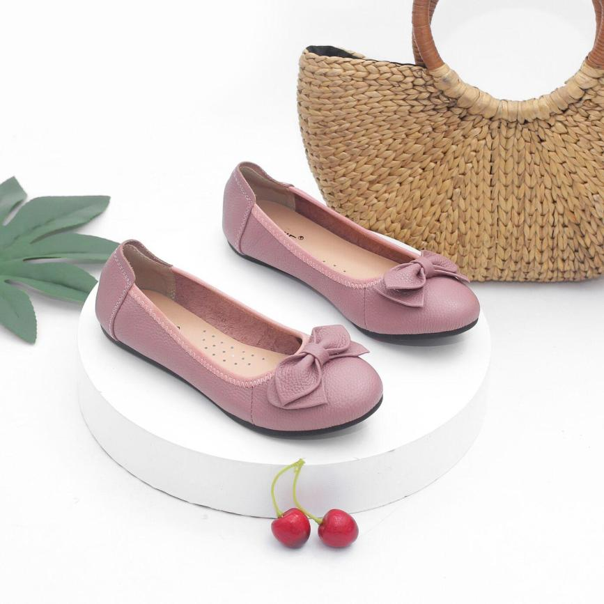 Giày Búp Bê Bệt Da Bò Thật Siêu Êm Gắn Nơ Pixie X424 giá rẻ