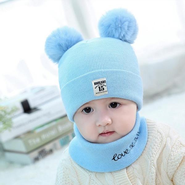 Mũ len trẻ em 2 quả bông kèm khăn cho bé dưới 5 tuổi