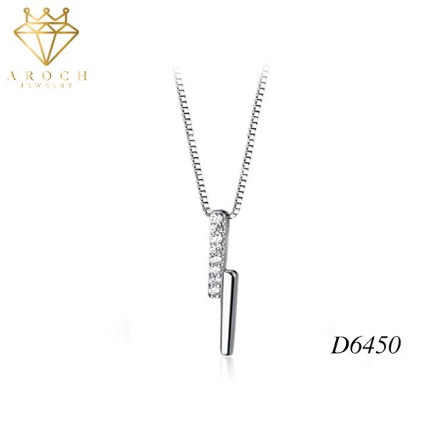 Dây chuyền bạc Ý s925 mặt dây thiết kế hình học bất đối D6450 - AROCH Jewelry