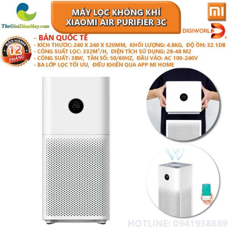 [Bản quốc tế] Máy lọc không khí Xiaomi Air Purifier 3C - phân phối Digiworld - Bảo hành 12 tháng - Shop Thế giới điện máy