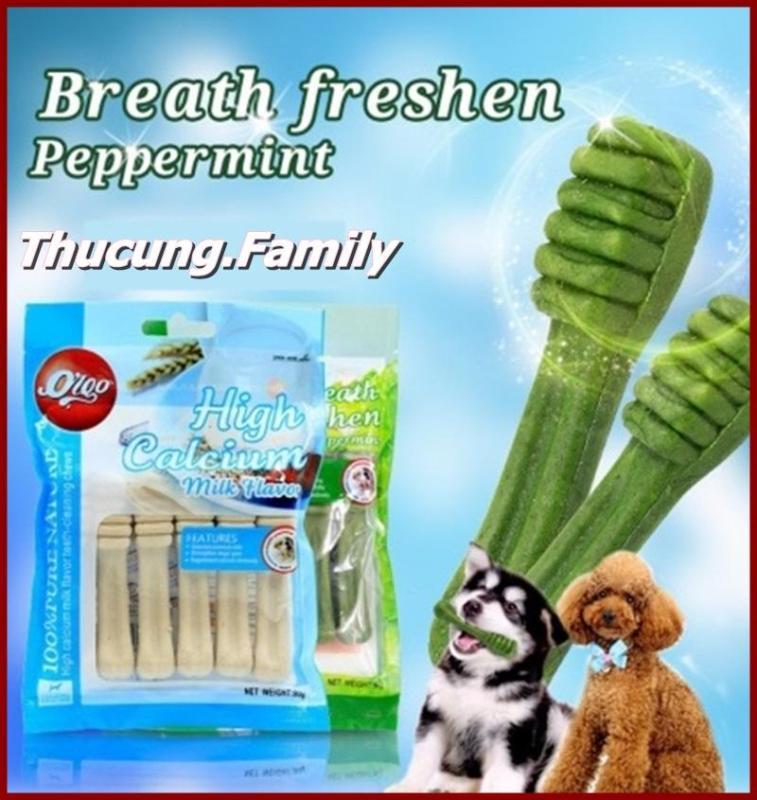 Xương nhai bổ sung Canxi, Làm sạch răng- giúp hơi thở thơm tho.Orgo vị bạc hà 90g/gói.