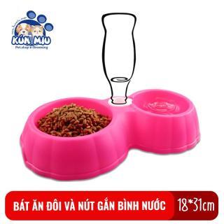 Bát ăn đôi và nút gắn bình nước Kún Miu cho chó mèo thumbnail