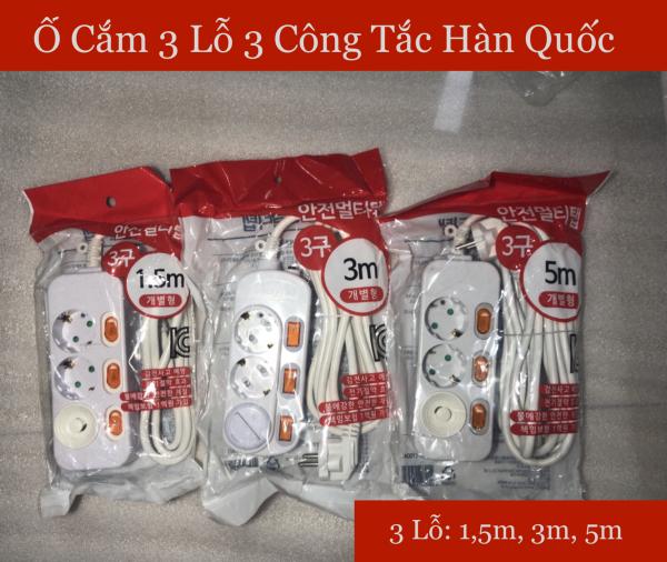[HCM]Ổ Cắm Điện Surgio Hàn Quốc 3 Lỗ 3 Công Tắc giá rẻ