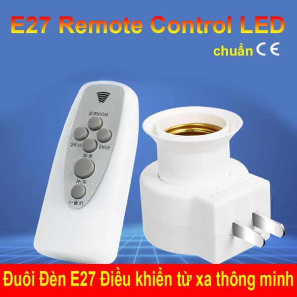 phích cắm Đuôi E27 - Bật Tắt đèn điều khiển từ xa có Remote LK201