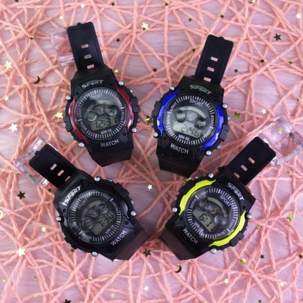 Nơi bán Đồng hồ điện tử thời trang nam nữ Sport Sp4 viền màu mặt tròn đây nhựa dẻo. BL79