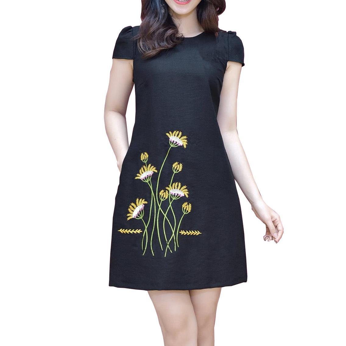 Đầm suông hoa lá vàng