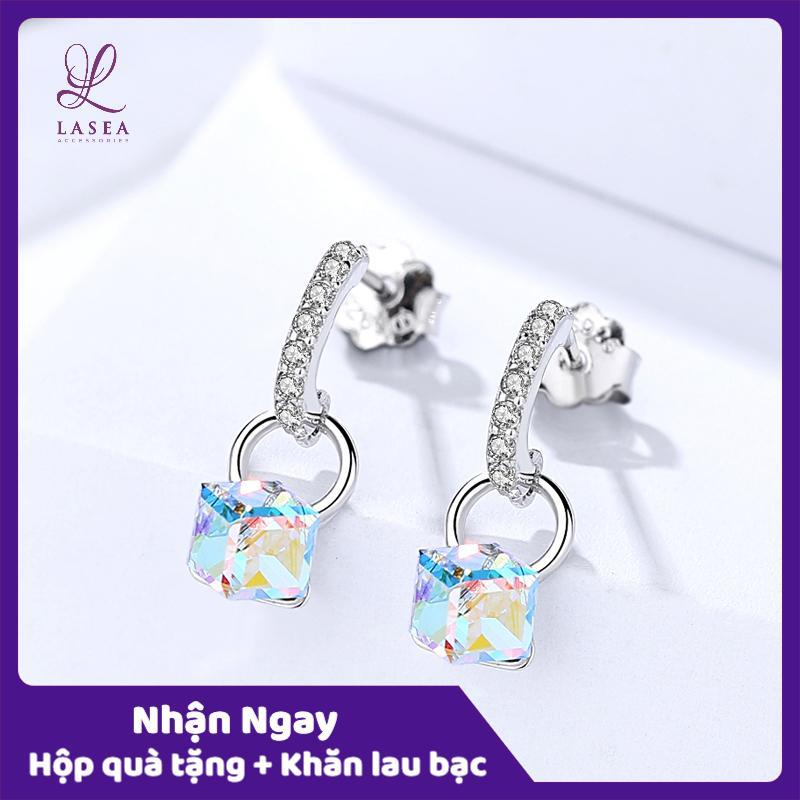 Bông tai nữ trang sức bạc Ý S925 Lasea - Hoa tai vòng đính đá pha lê cao cấp E1271