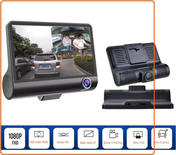 Camera hành trình xe hơi 3 mắt X005 4 inch fullHD 1080p,camera sau chống nước ghi hình đa chiều hình ảnh Full HD nét cả ngày lẫn đêm, góc quay đến 170 độ, WDR chống chói, màn hình công nghệ IPS đến 4 inches