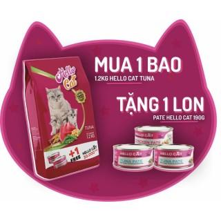 Thức Ăn Cho Mèo Hương Vị Cá Ngừ Thơm Ngon - Hello Cat Tuna Flavor 1.2KG Tặng Pate 190G thumbnail