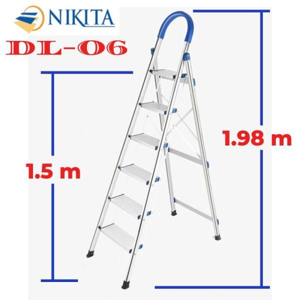 Thang nhôm ghế tay vịn 6 bậc Nikita DL06 Nhật Bản 1,5m