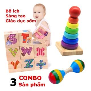 Combo 3 MÓN ĐỒ CHƠI TRẺ EM thông minh bằng gỗ tự nhiên cao cấp phát triển toàn diện trí tuệ, kích thích trí tưởng tượng, sáng tạo cho bé từ 2 đến 4 tuổi thumbnail