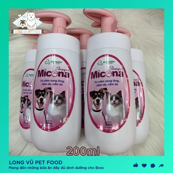 Sữa tắm cho chó mèo (VMD) Shampoo Micona 200ml ngừa viêm da nấm da, dưỡng lông siêu mượt - Sữa tắm chó mèo - Long Vũ Pet Food