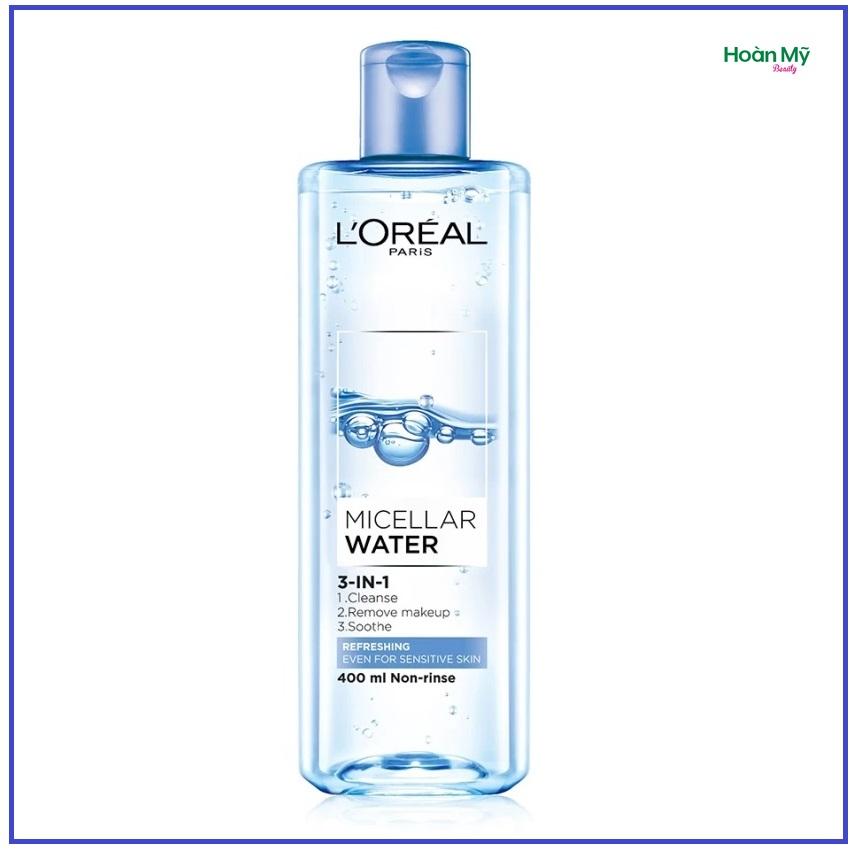 Nước tẩy trang  L'Oreal Paris Micellar Water 3 in1 95ml/400ml - Tươi mát ( xanh nhạt)