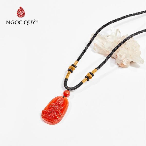 Mặt dây chuyền Phật bản mệnh đá mã não đỏ Như Lai Đại Nhật tuổi Mùi , Thân 3.6 x 2.3cm (màu đỏ ) - Ngọc Quý Gemstones