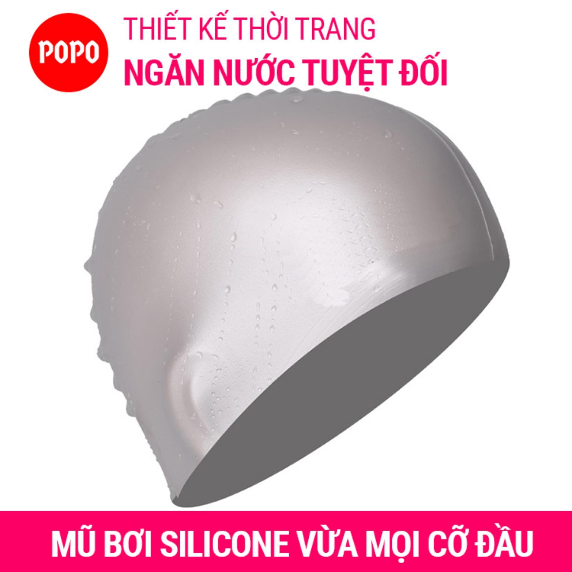 Nón bơi mũ bơi trơn silicone chống thống nước cao cấp CA31 POPO Collection 24