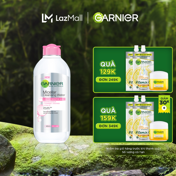 [Đơn 349K tặng túi + 3 quà] Nước làm sạch và tẩy trang cho da nhạy cảm Garnier Micellar Water 400ml cao cấp