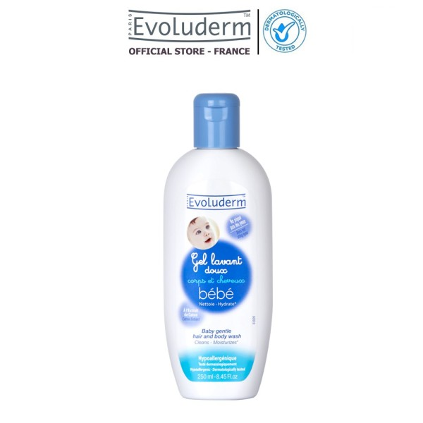 Gel tắm gội làm sạch dưỡng ẩm toàn thân cho em bé Evoluderm 250ml (HSD T6-2021)