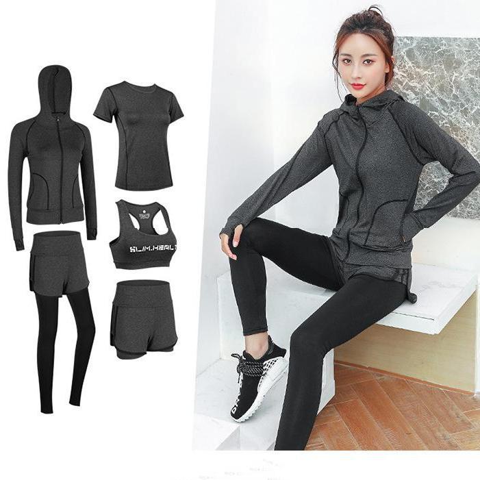 Bộ đồ thể thao nữ, Bộ đồ tập gym nữ, Set tập gym Min 5 mảnh gồm  áo khoác hoodie, áo thun, áo bra, quần short ngắn, quần dài chất liệu cao cấp co giãn bốn chiều G020