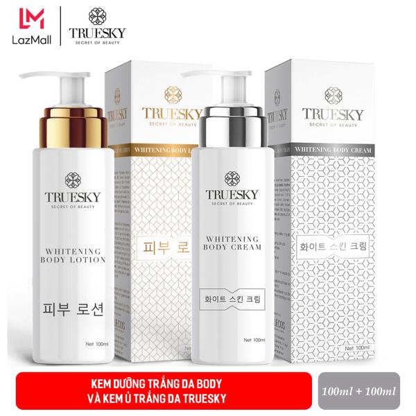 Bộ tắm trắng body cấp tốc Truesky gồm (1 kem ủ trắng body 100ml + 1 kem body dưỡng trắng 100ml) giá rẻ