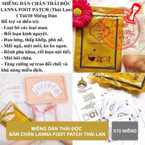 Combo 10 miếng dán thải độc bàn chân Lanna Foot Patch Thái Lan