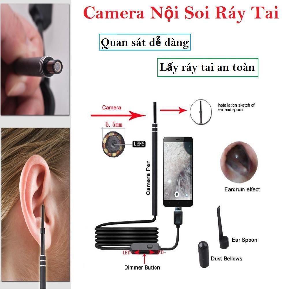 Camera Nội Soi Tai - KÈM ĐẦU LẤY RÁY, AN TOÀN, LÀM SẠCH SÂU - Camera mini, máy lấy ráy tai, lấy ráy tai có đèn - Sale Sốc 50%, BH 12 tháng