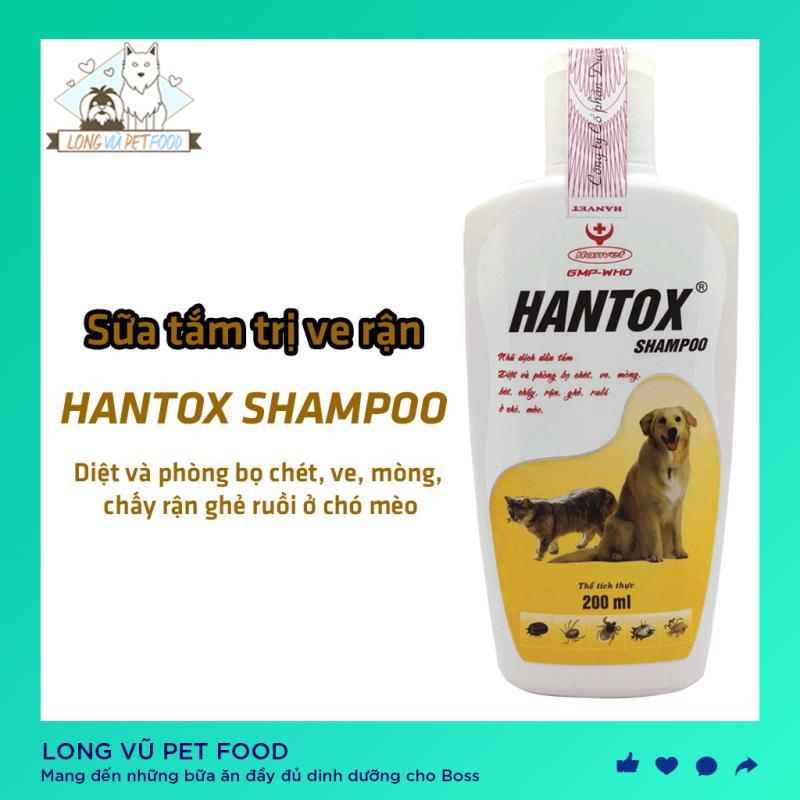Sữa Tắm Cho Chó Mèo Trị Ve Rận Bọ Chét Hantox Shampoo 200ml Phụ kiện Long Vũ