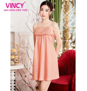 Đầm Vincy satin 2 dây phối bèo ngang đô áo DDS010S01 thumbnail