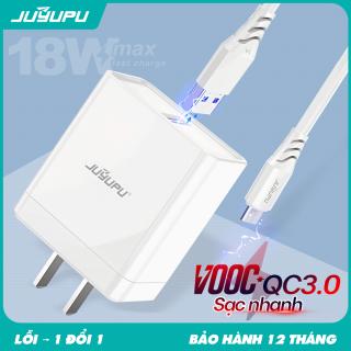 Combo củ sạc nhanh, dây sạc nhanh, bộ sạc nhanh, sạc bộ, củ sạc nhanh USB QC3.0, có dây micro, Type C Dành Cho Điện Thoại Có Hỗ Trợ Sạc Nhanh FC273 thumbnail