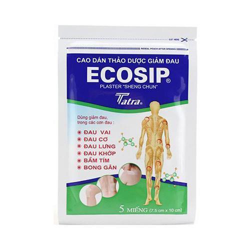 SẢN PHẨM MIẾNG DÁN THẢO DƯỢC GIẢM ĐAU TẠI CHỖ - ECOSIP (5 MIẾNG/TÚI) cao cấp