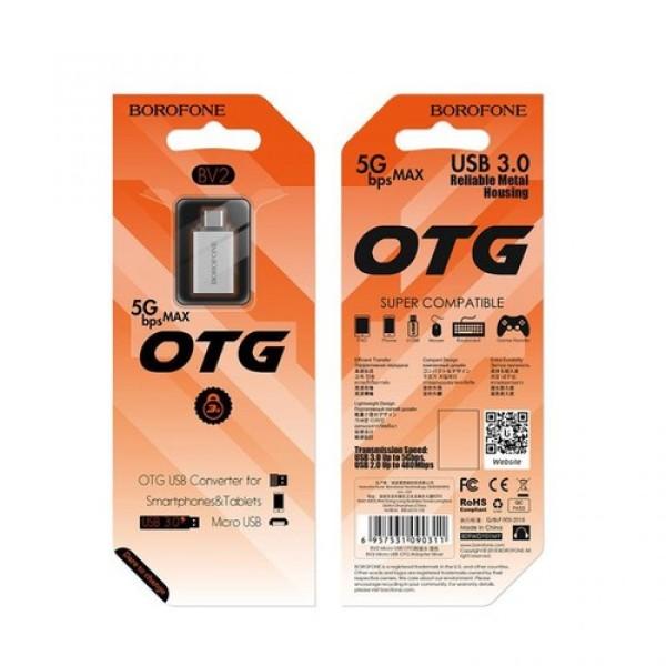 Bảng giá Cáp chuyển OTG,  Đầu chuyển borofone BV2 OTG USB sang Micro, Đầu Cáp Chuyển OTG BOROFONE BV2 USB-A Sang Micro USB Phong Vũ