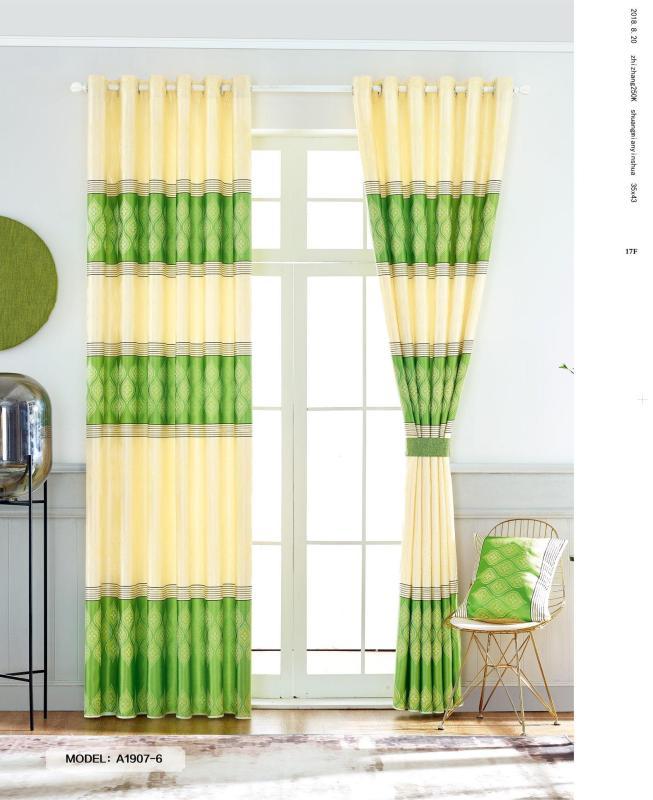 Màn Rèm Cửa Chính - Rèm Cửa Sổ - Vải Gấm HQ - Vải dày rủ đẹp - Kiểu Khoen Ore - Mẫu 1907-6 - Tuỳ chọn kích thước từ 150cm đến 500cm (Xanh Lá)