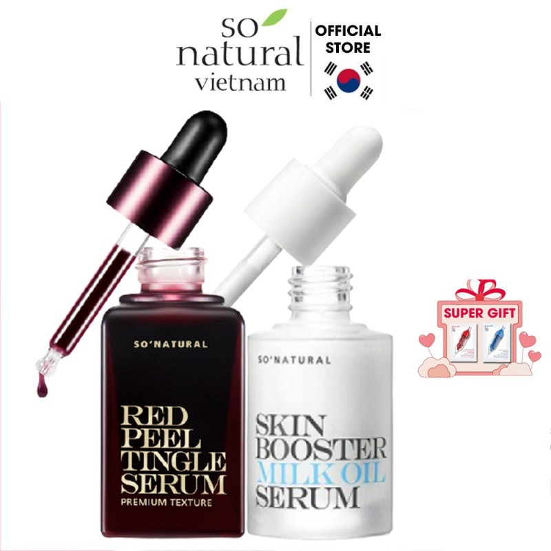 Bộ serum ngăn ngừa mụn dưỡng da Red Peel Tingle Premium 20ml Skin Booster Milk Oil Serum 30ml So Natural giá rẻ