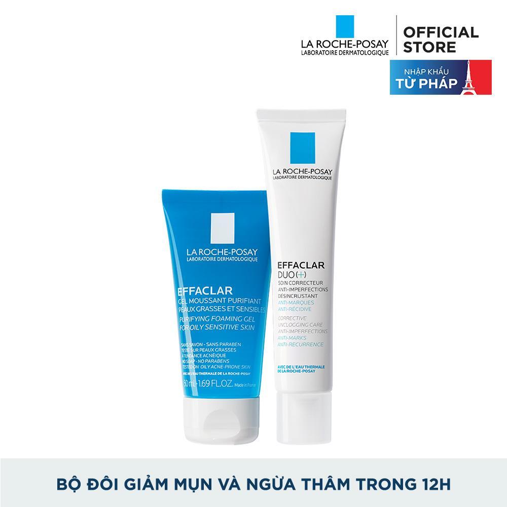 Bộ đôi Kem dưỡng giảm mụn thông thoáng lỗ chân lông và ngừa thâm La Roche Posay Effaclar Duo+ 40ml và Gel rửa mặt dành cho da dầu mụn Effaclar gel 50ml nhập khẩu