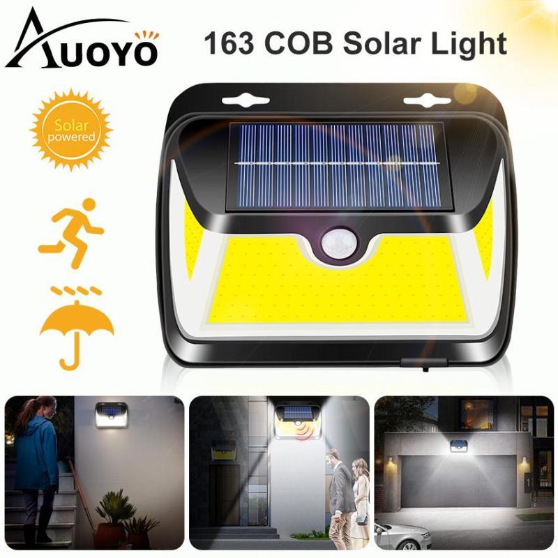 Auoyo 163COB Solar Lights Outdoor Lighting Wireless Motion Sensor Lamp IP65 Waterproof Wall Lamp with 270°Wide Angle Solar Powered Lights for Front Door Pathway Garden Yard