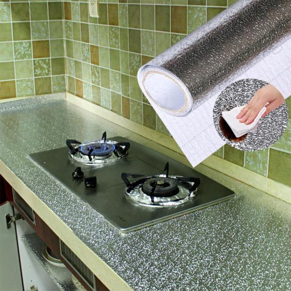 (LOẠI DÀI) Cuộn 2.6m decal giấy dán bếp tráng nhôm cách nhiệt ô vuông bạc khổ 60cm keo sẵn