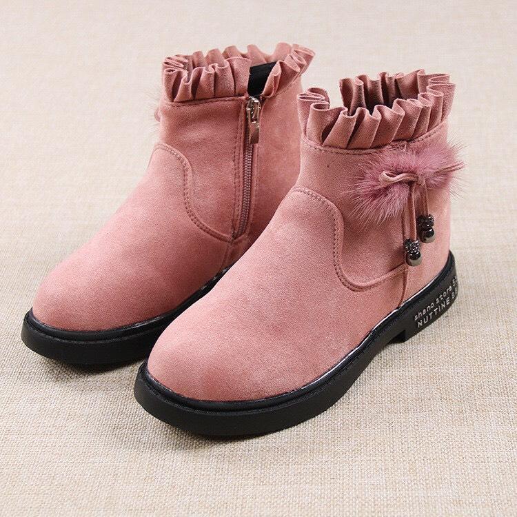 Giá bán giày Bốt Bé Gái Size 32 và 35 da lộn mềm mịn