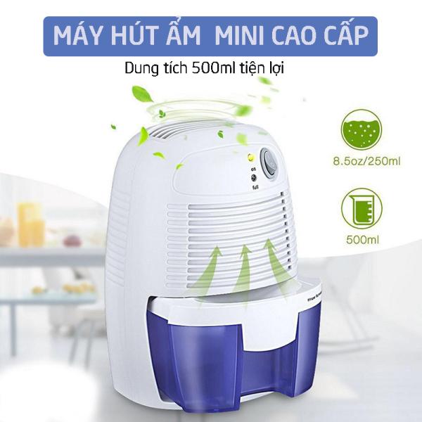 (BH 12 Tháng) Máy Hút Ẩm Mini Dehumidifier Dung Tích Bình 500ml Tự Động Tắt Khi Đầy Nước Dễ Dàng Tháo Lắp Vệ Sinh Tiết Kiệm Điện Độ Ồn Thấp - Lỗi 1 Đổi 1