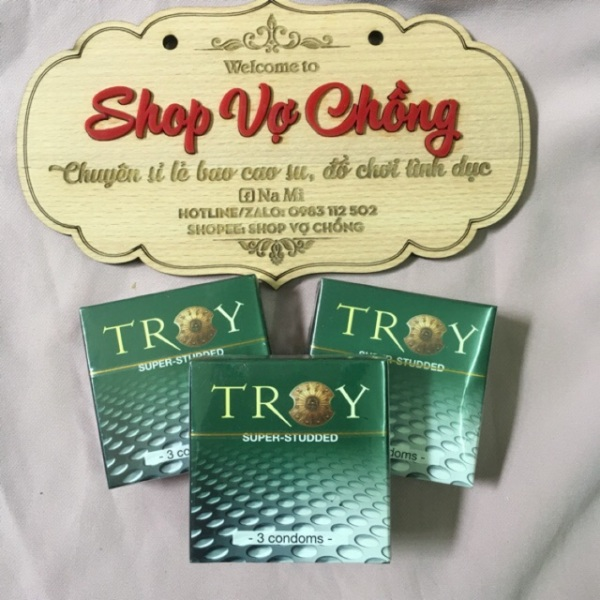 Bao cao su Troy Super Studded siêu gai tăng khoái cảm (hộp 3 cái), sản phẩm cam kết đúng như mô tả, chất lượng đảm bảo, an toàn sức khỏe người dùng